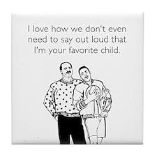 Favorite Child White Tile Coaster