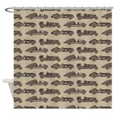 Vintage Old Fashioned Race Cars Shower Curtain