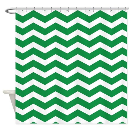 Green Chevron Shower Curtain By InspirationzStore