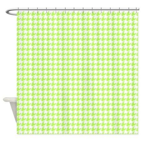 Lime Green And White Houndstooth Shower Curtain By Inspirationzstore