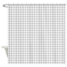 Gray and white houndstooth Shower Curtain