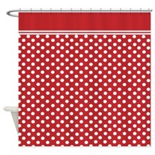 Red Polka dots Shower Curtain