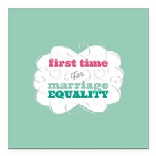 First Time Voter for Equality Square Car Magnet 3""