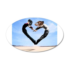 Dachshund Love Heart 35x21 Oval Wall Decal