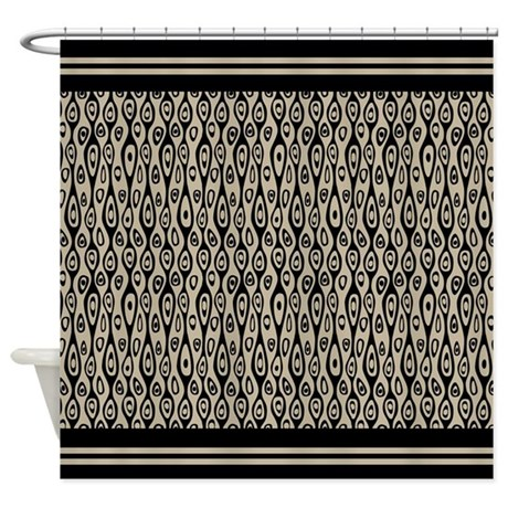 Art Deco Black And Tan Shower Curtain By Mainstreethomewares