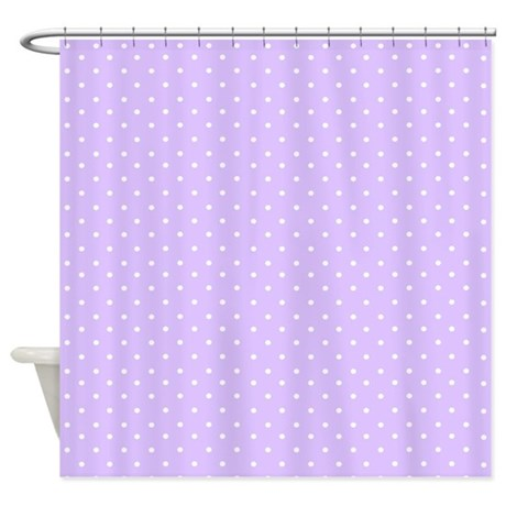 Polished Nickel Shower Curtain Rod Purple Polka Dot Flowers
