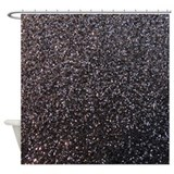 Black faux glitter texture shower curtain (matte)