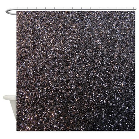 Black faux glitter texture shower curtain matte by for White glitter bathroom accessories