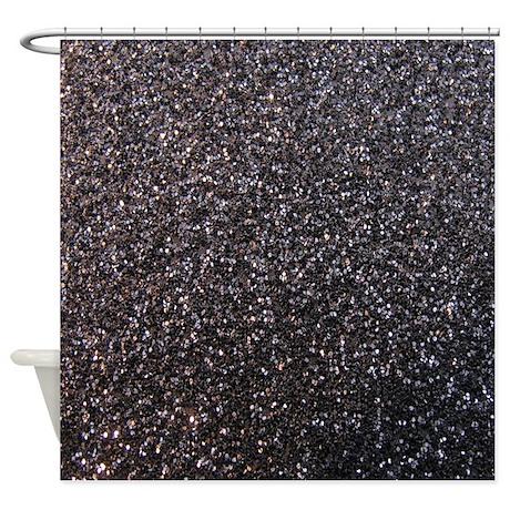 black faux glitter texture shower curtain matte by