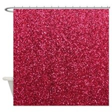 Red faux glitter texture shower curtain (matte)