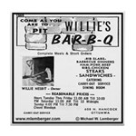 Willie's Bar-B-Q Tile Coaster