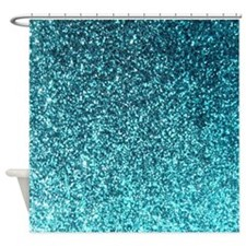Teal faux glitter texture shower curtain (matte)