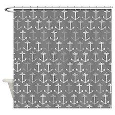 Gray nautical anchor pattern Shower Curtain