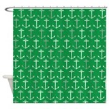 Green nautical anchor pattern Shower Curtain