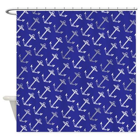 Dark Blue Nautical Anchor Shower Curtain By Inspirationzstore