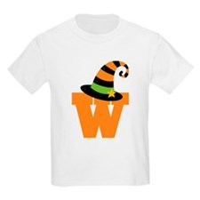Halloween Letter W Witch Monogram T-Shirt