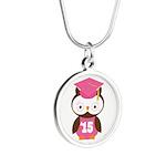 2015 Owl Graduate Class Silver Round Necklace