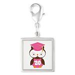 2020 Owl Graduate Class Silver Square Charm