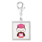 2026 Owl Graduate Class Silver Square Charm