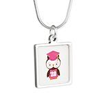 2028 Owl Graduate Class Silver Square Necklace