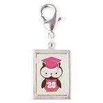 2028 Owl Graduate Class Silver Portrait Charm