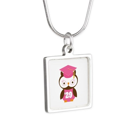 2029 Owl Graduate Class Silver Square Necklace
