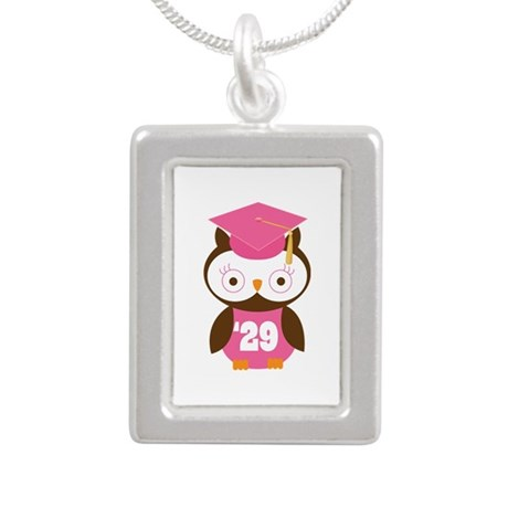 2029 Owl Graduate Class Silver Portrait Necklace