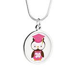 2030 Owl Graduate Class Silver Round Necklace