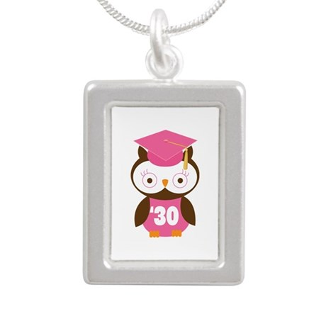 2030 Owl Graduate Class Silver Portrait Necklace