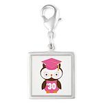 2030 Owl Graduate Class Silver Square Charm