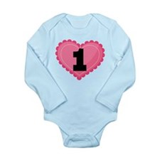 1st Birthday Big Heart Onesie Romper Suit