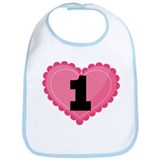 1st Birthday Big Heart Bib