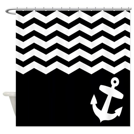 black and white chevron anchor shower curtain by