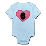 6th Birthday Big Heart Infant Bodysuit