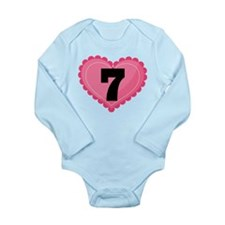 7th Birthday Big Heart Long Sleeve Infant Bodysuit