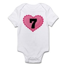 7th Birthday Big Heart Infant Bodysuit