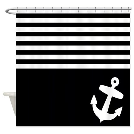 Black And White Stripes Anchor Shower Curtain By Inspirationzstore