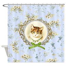 Vintage kitten cat Shower Curtain