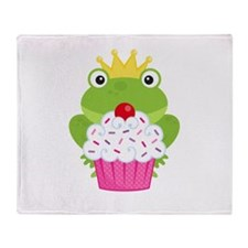 Frog Princess Birthday Cupcake Throw Blanket