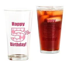 Happy 5th Birthday - Pink Argyle Drinking Glass