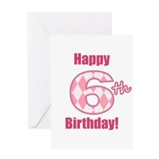 Happy 6th Birthday - Pink Argyle Greeting Card