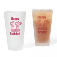 Happy 11th Birthday - Pink Argyle Drinking Glass
