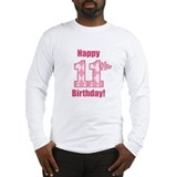 Happy 11th Birthday - Pink Argyle Long Sleeve T-Sh