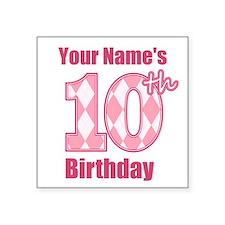 Pink Argyle 10th Birthday - Personalized! Sticker
