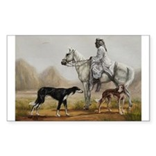 Arabian Bedouin Hunting with Two Salukis Decal