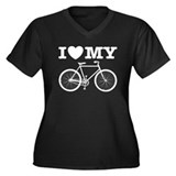 I Love My Bicycle Women's Plus Size V-Neck Dark T-