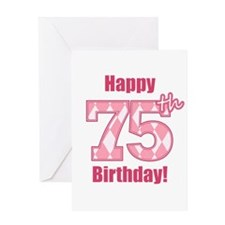 Happy 75th Birthday - Pink Argyle Greeting Card