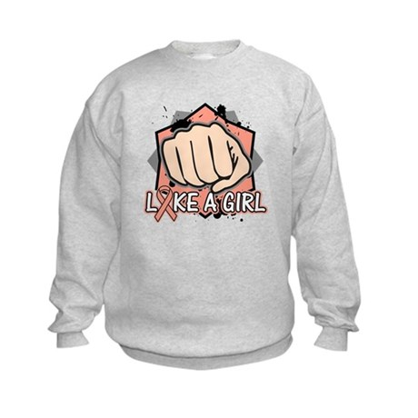 Uterine Cancer Punch Fight Like A Girl Kids Sweats