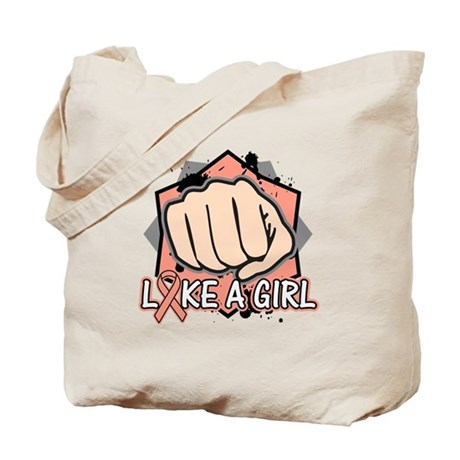 Uterine Cancer Punch Fight Like A Girl Tote Bag