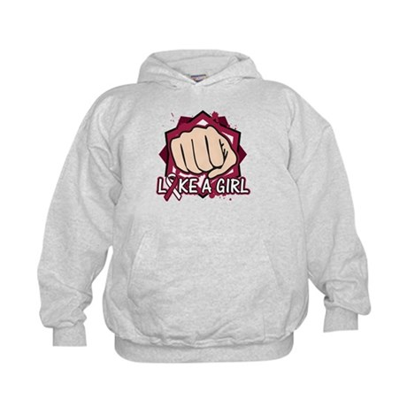 Throat Cancer Punch Fight Like A Girl Kids Hoodie